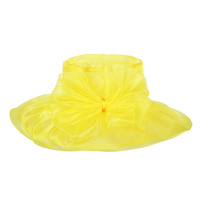 YELLOW ELEGANT DRESSY HAT WITH ROSE CENTER PIECE