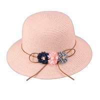 3 FLOWER PAPER BRAID ROUNDED HAT