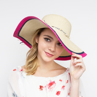 COLOR BRIM BOW PAPER BRAID HAT