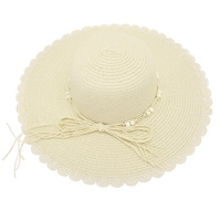 SCALLOP EDGE PAPER BRAID FLOPPY HAT