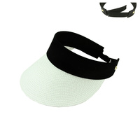 COLOR BLOCK WOVEN SUN HAT VISOR