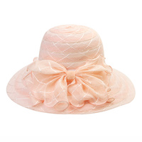BEACH HAT W/ BOW ON SIDE