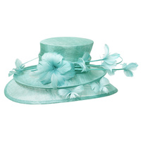 DOUBLE LAYERED SINAMAY HAT W/LILY FEATHER FLOWER