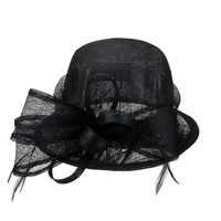 SMALL BUCKET SINAMAY HAT W/ BOW CENTER AND FEATHER