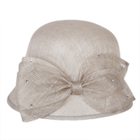 Small bucket sinamay hat w/ bow center and stones