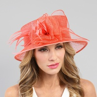 Medium feather sinamay hat with floral center