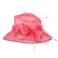 Med down brim feather sinamay hat w/ floral center