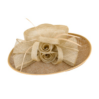 ROSE BOW MIXED SINAMAY W/FLAX HAT