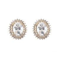 OVAL CUBIC ZIRCONIA  POST EARRING
