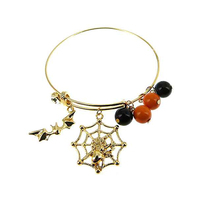 Halloween Theme Spider Web Dangly Charms Wire Bracelet Jtb0220G