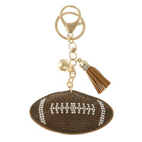 RHINESTONE FOOTBALL KEY CHAIN