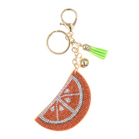 STONED HALF ORANGE PUFFY KEYCHAIN