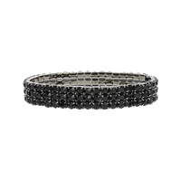 BLACK SOPHISTICATED 3 LINE STRETCH BRACELET WITH RHINESTONES