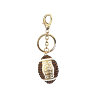 Stone Encrusted Football Keychain Charm