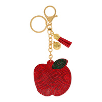 RED APPLE RHINESTONE KEYCHAIN WITH TASSEL