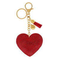 RED HEART RHINESTONE KEYCHAIN WITH TASSEL