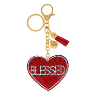 BLESSED HEART RHINESTONE KEYCHAIN WITH TASSEL