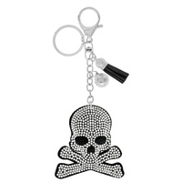 SKULL AND CROSSBONES RHINESTONE KEYCHAIN WITH TASSEL