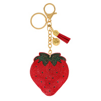 STRAWBERRY RHINESTONE KEYCHAIN WITH TASSEL