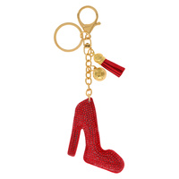HIGH HEELED SHOE RHINESTONE KEYCHAIN WITH TASSEL