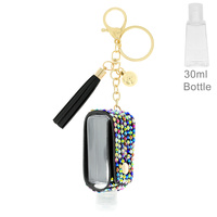 STONE POUCH HOLDER KEYCHAIN WITH EMPTY REFILLABLE FLIP TOP BOTTLE