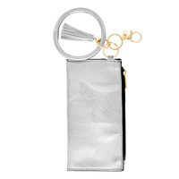 ZIPPER PURSE WITH WRISTLET AND KEYCHAIN