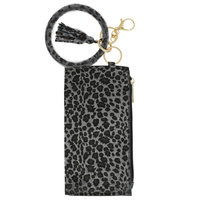 LEOPARD CHEETAH PRINT ZIPPER PURSE WITH WRISTLET AND KEYCHAIN
