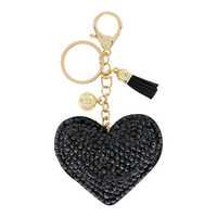 FRONT BACK FULL STONE HEART KEYCHAIN WITH  WITH TASSEL