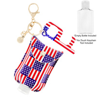 POUCH HOLDER KEYCHAIN WITH EMPTY REFILLABLE SANITIZER  CONTAINER &   NO TOUCH KEY DOOR OPENER