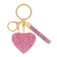 HEART RHINESTONE KEYCHAIN WITH KEY RING AND STRAP