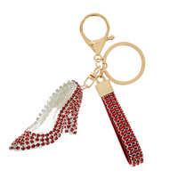 HIGH HEEL RHINESTONE KEYCHAIN WITH KEY RING AND STRAP