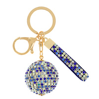 DISCO BALL RHINESTONE KEYCHAIN WITH KEY RING AND STRAP