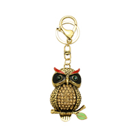 Stone Encrusted Owl On Branch Keychain Charm Kcy1353G