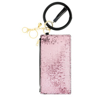 SEQUIN BLING ZIPPER PURSE WITH WRISTLET AND KEYCHAIN