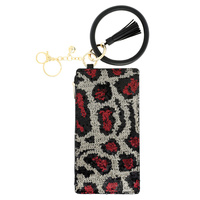 LEOPARD, CHEETAH PRINT SEQUIN BLING ZIPPER PURSE WITH WRISTLET AND KEYCHAIN
