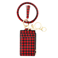 RED BUFFALO PLAID PATTERN ID CARD HOLDER POCKET WALLET WITH WRISTLET AND KEYCHAIN