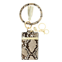 SNAKE SKIN PRINT ID CARD HOLDER POCKET WALLET WITH WRISTLET AND KEYCHAIN