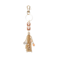 Chain Tassel With Dangly Beads And Stones Keychain Charm Kcy4996G