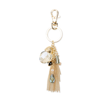 Chain Tassel With Dangly Beads And Stones Keychain Charm Kcy4997G