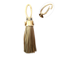 Large Tassel With Stone Encrusted Owl Keychain Charm Kcy5766G