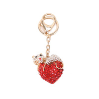 HEART KEYCHAIN W/DIAMONDS AND CAT ON TOP