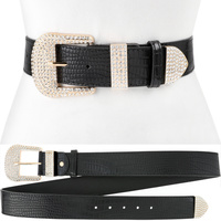 BELT LEATHER CRYSTAL BUCKLE PLUS
