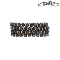 4 PC GLASS BEADED STRETCH BRACELET
