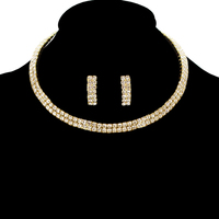 GOLD SOPHISTICATED CHOKER AND EARRING SET WITH RHINESTONES