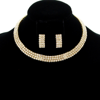 GOLD EXQUISITE CHOKER AND EARRING SET WITH RHINESTONES