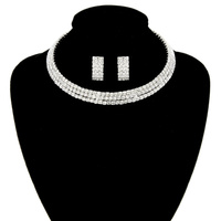 SILVER SOPHISTICATED CHOKER AND EARRING SET WITH RHINESTONES