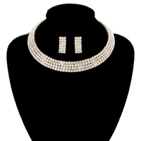 4 Line Rhinestone Open Choker Collar Necklace And Earrings Set Mne4G