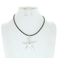 STARFISH FAUX LEATHER CORD NECKLACE