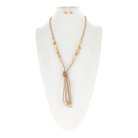 BEADED NECKLACE SET W/4 BEADED TASSELS