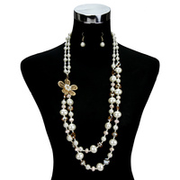 LONG 2 LINE BEADED FLOWER NECKLACE SET